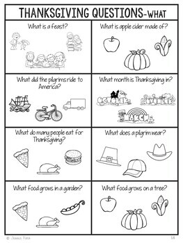 No Prep Print and Go Language Worksheets: Thanksgiving