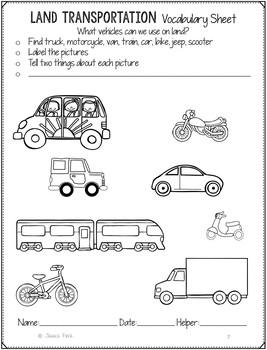 No Prep Print and Go Language Worksheets: Transportation