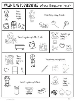 No Prep Print and Go Language Worksheets: Valentine's Day