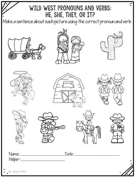 No Prep Print and Go Language Worksheets: Wild West