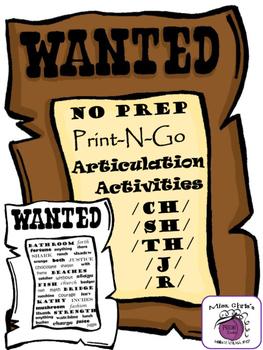 No Prep Print-n-Go Speech Therapy Activities CH  SH  TH  J  R Western Theme!