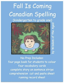 Autumn Printable Book - Rhyming Story - No Prep - (Canadian Spelling)