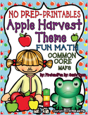 No Prep Autumn Math Johnny Appleseed  Theme Common Core MAFS PACKET