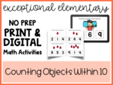 NO PREP Printable and Digital Counting Manipulatives Within 10