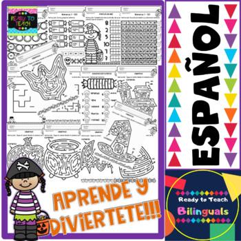 No-Prep Printables - Math Halloween in Spanish