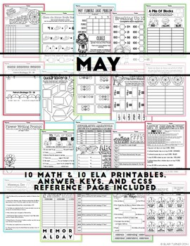 NO PREP Math and Literacy: A Year-Long Bundle of Monthly Printables