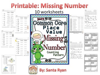 TENS and ONES No Prep Printables Place Missing Number, Pattern Common Core MAFS