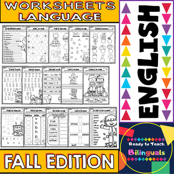 No Prep Printables in English - Fall Edition - Maths and Language - K/1st