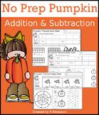 No Prep Pumpkin Addition & Subtraction