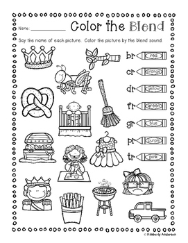 No Prep: R-Blends Coloring Picture Match Activity Sheets (R Blends)
