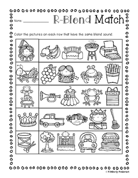 No Prep: R-Blends Picture Match Activity Sheets (R Blends)