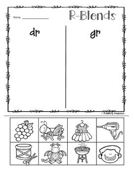 No-Prep: R-Blends Picture Sorting Activity Sheets (R Blends)