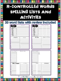 No Prep R-Controlled Spelling Lists and Activities