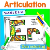 No Prep RL & Vocalic R Articulation Coloring Sheets for Speech Therapy