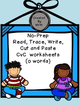 No-Prep Read, Trace, Write, Cut and Paste CvC (o words) Worksheets