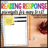 No Prep! Reading Response Prompt Printables