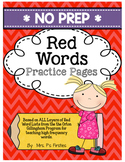 No Prep Red Words Practice Pages