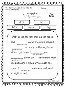 No Prep: Regular and Irregular Verb Worksheets by Speech