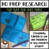 No Prep Research for Any Topic and Pebble Go Flip Flap - Editable