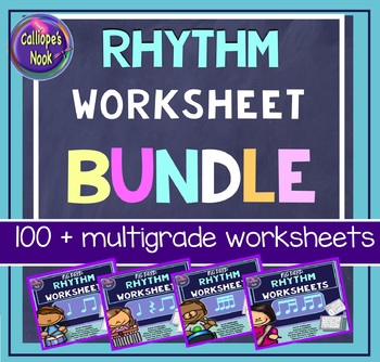 No Prep Rhythm Worksheets Bundle: Quarter Note/ Rest, Eighth and Sixteenth Notes