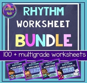 No Prep Rhythm Worksheets Bundle: Quarter (& rest) Eighth Sixteenth Note