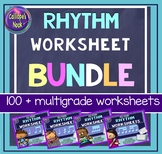 No Prep Rhythm Worksheets Bundle: Quarter (& rest) Eighth Sixteenth Notes