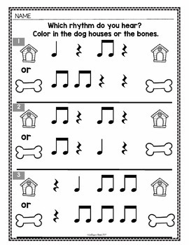 Prep Rhythm Worksheets: Quarter Rest & Note, Eighth Note, Za, Ta ...