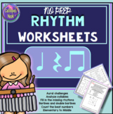 No Prep Rhythm Worksheets: Quarter Rest & Note, Eighth Note, Za, Ta, Ti-ti