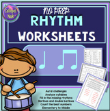 No Prep Rhythm Worksheets: Quarter and Eighth Notes (Ta an
