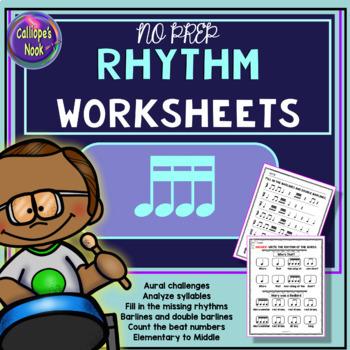 No Prep Rhythm Worksheets: Sixteenth Note (Ti-ka-ti-ka)