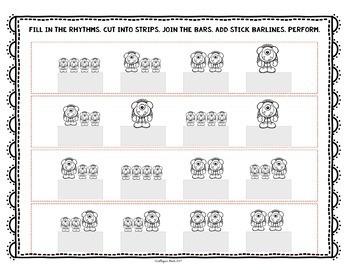 No Prep Rhythm Worksheets: Sixteenth Note Variations  (Ti–ti-ka & Ti-ka–ti)