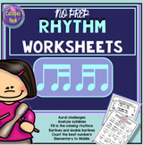 No Prep Rhythm Worksheets: Sixteenth Note Variations ti-tika tika-ti
