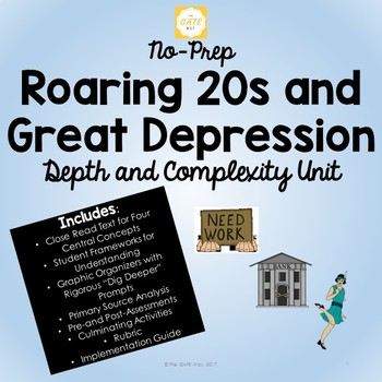No-Prep Roaring 20s and Great Depression Unit with Depth and Complexity