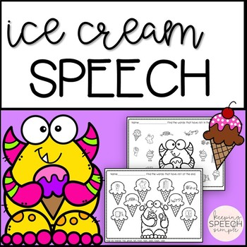 No Prep /S/ Blend Articulation Worksheets - Ice Cream Themed