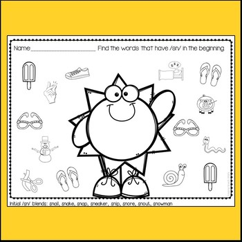 No Prep /S/ Blend Articulation Worksheets - Summer Themed