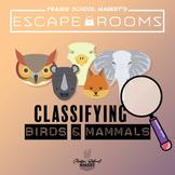 No-Prep! STEM Escape Room - Classifying Birds & Mammals STEM Activity Science