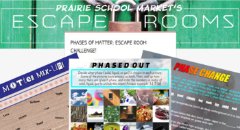 No-Prep STEM Escape Room -Science-Phases of Matter-3rd-5th grade STEM Activities