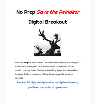 No Prep Save the Reindeer Digital Breakout