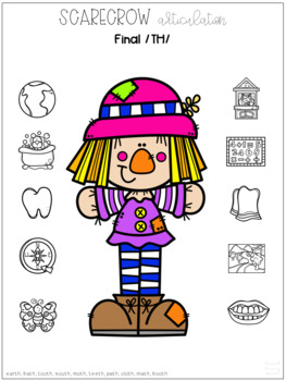 No Prep Scarecrow Articulation, Phonology, & Language Worksheets