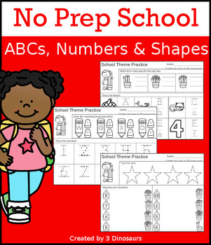 No-Prep School ABCs, Numbers & Shapes
