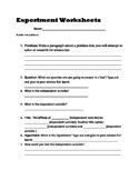 Science Fair Create an Experiment Worksheet