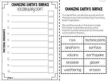 Science Vocabulary Word Work Activities