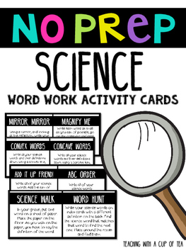 No Prep Science Word Work Activity Cards