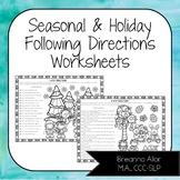 No Prep Seasonal & Holiday Following Directions Worksheets