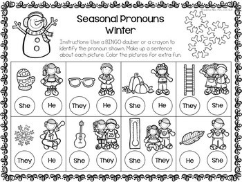 No Prep Seasonal Pronouns Dot and Decorate
