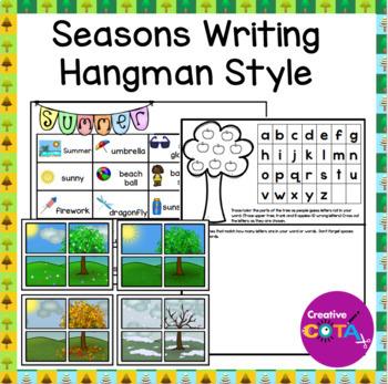 No Prep Seasons Writing Hangman Style Game