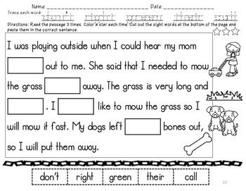 No Prep Second Grade Sight Words Cut and Paste Sentences Fill in the Word