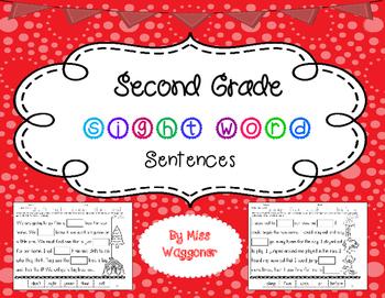 No Prep Second Grade Sight Words Cut and Paste Sentences F