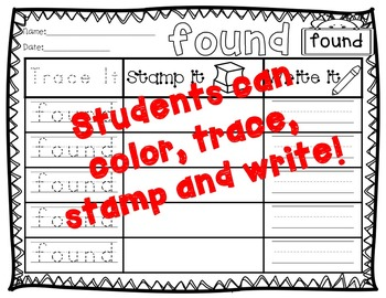 No Prep Second Grade Sight Words Stamping and Activities
