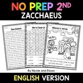 No Prep Second Grade Zacchaeus Bible Lesson - Distance Learning